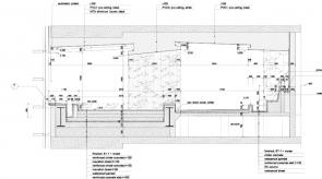 既存ビルの柱からキャンチで支える大浴槽